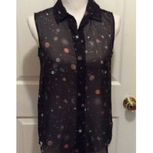 Theory Top P Black Orange Blue Polka Dot Planet